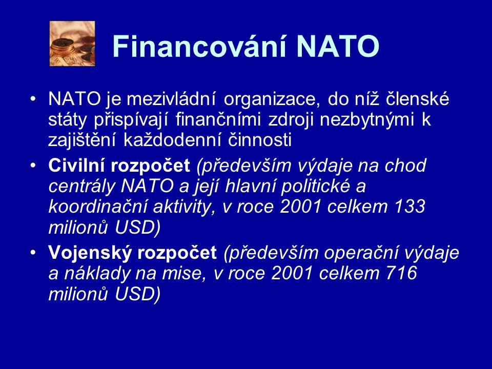 Financování NATO NATO je mezivládní organizace, do níž členské státy přispívají finančními zdroji nezbytnými k zajištění každodenní činnosti.
