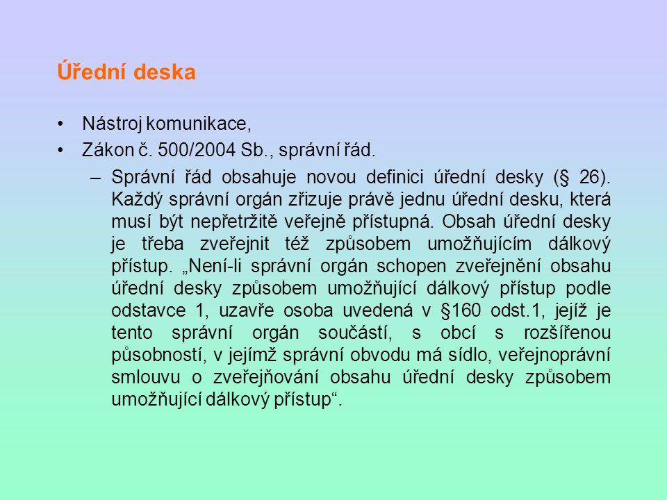 Úřední deska Nástroj komunikace, Zákon č. 500/2004 Sb., správní řád.