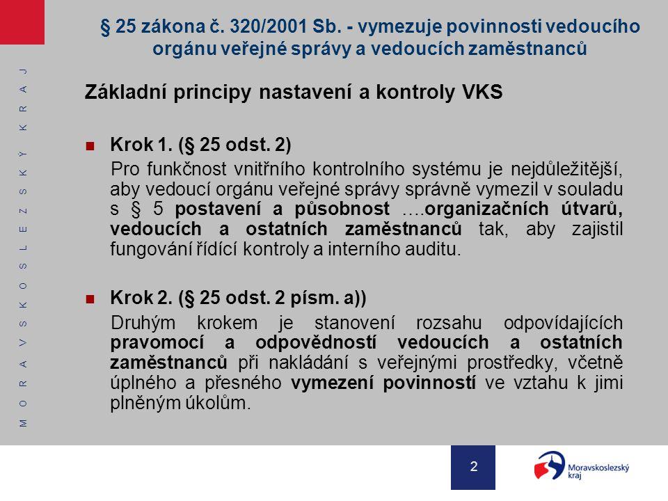Základní principy nastavení a kontroly VKS