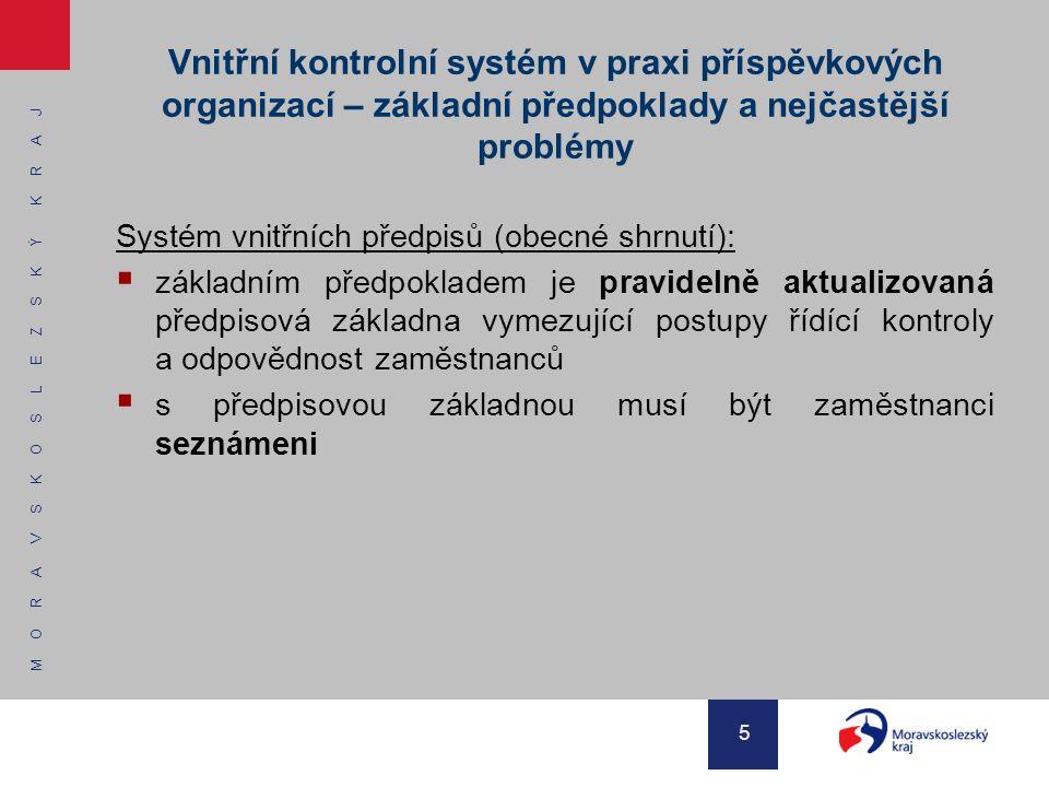Vnitřní kontrolní systém v praxi příspěvkových organizací – základní předpoklady a nejčastější problémy