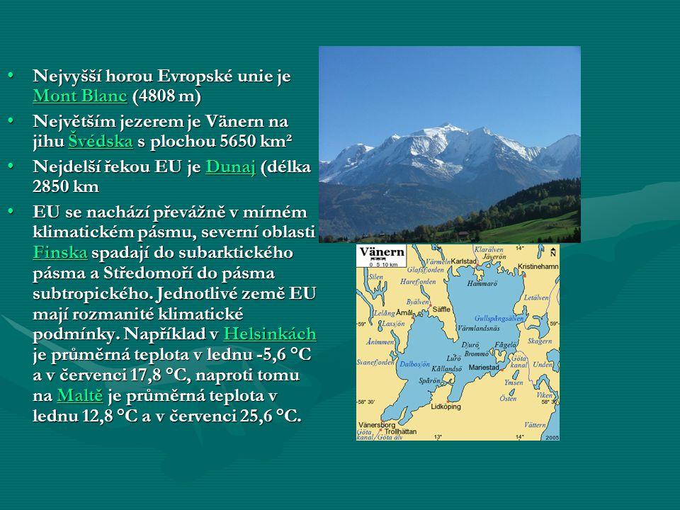 Nejvyšší horou Evropské unie je Mont Blanc (4808 m)