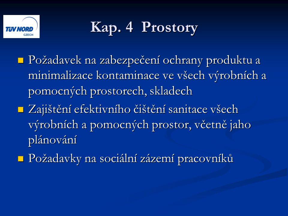Kap. 4 Prostory Požadavek na zabezpečení ochrany produktu a minimalizace kontaminace ve všech výrobních a pomocných prostorech, skladech.