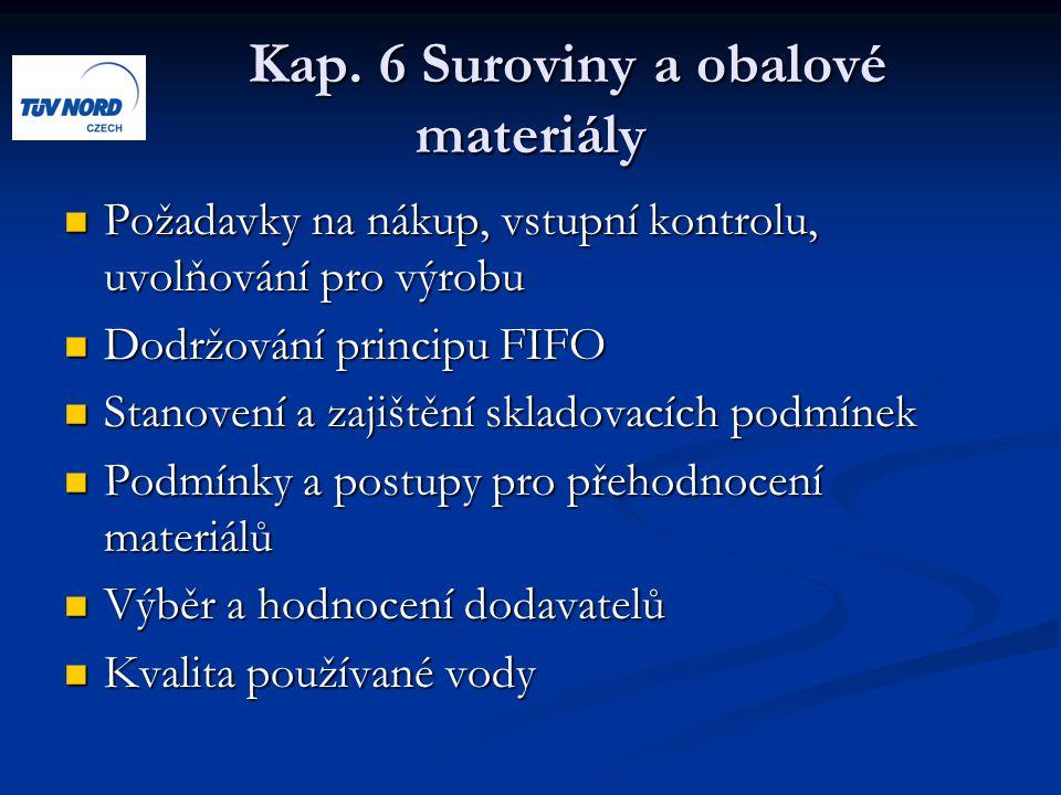 Kap. 6 Suroviny a obalové materiály