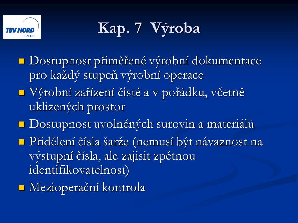 Kap. 7 Výroba Dostupnost přiměřené výrobní dokumentace pro každý stupeň výrobní operace.