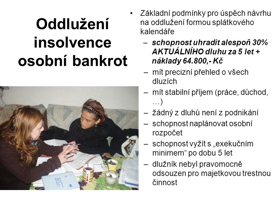 Oddlužení insolvence osobní bankrot