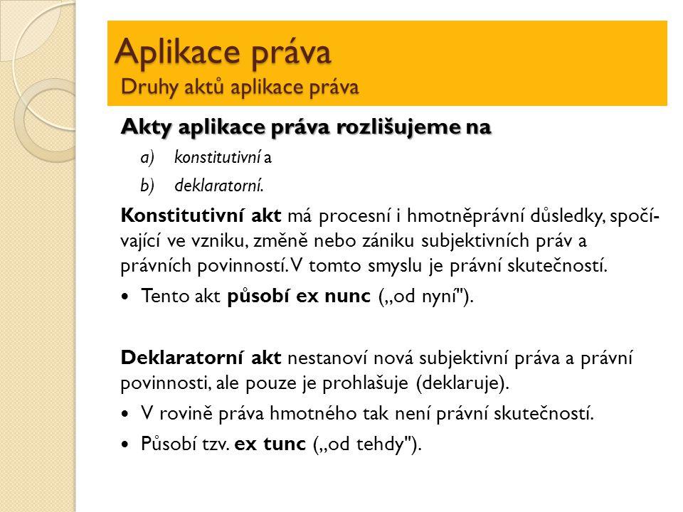 Aplikace práva Druhy aktů aplikace práva