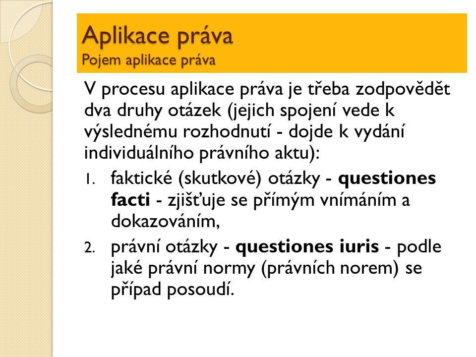 Aplikace práva Pojem aplikace práva