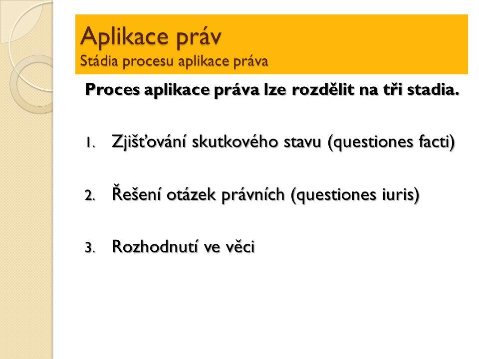 Aplikace práv Stádia procesu aplikace práva