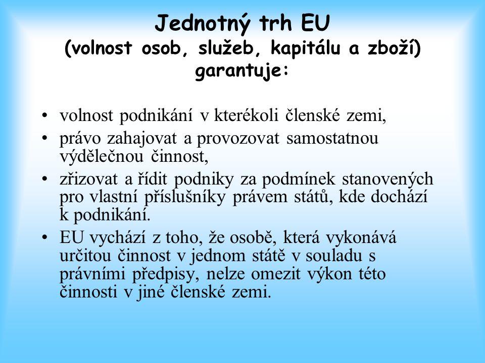 Jednotný trh EU (volnost osob, služeb, kapitálu a zboží) garantuje:
