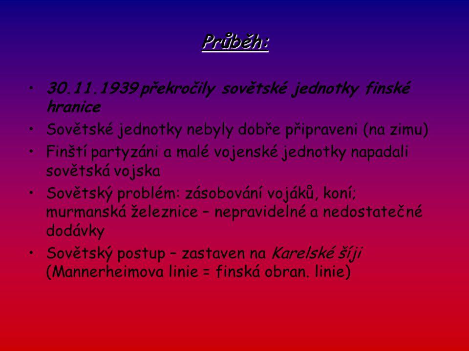 Průběh: 30.11.1939 překročily sovětské jednotky finské hranice