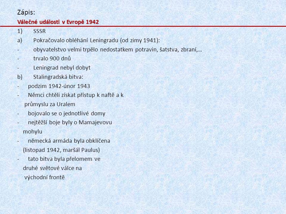 Zápis: Válečné události v Evropě 1942 SSSR