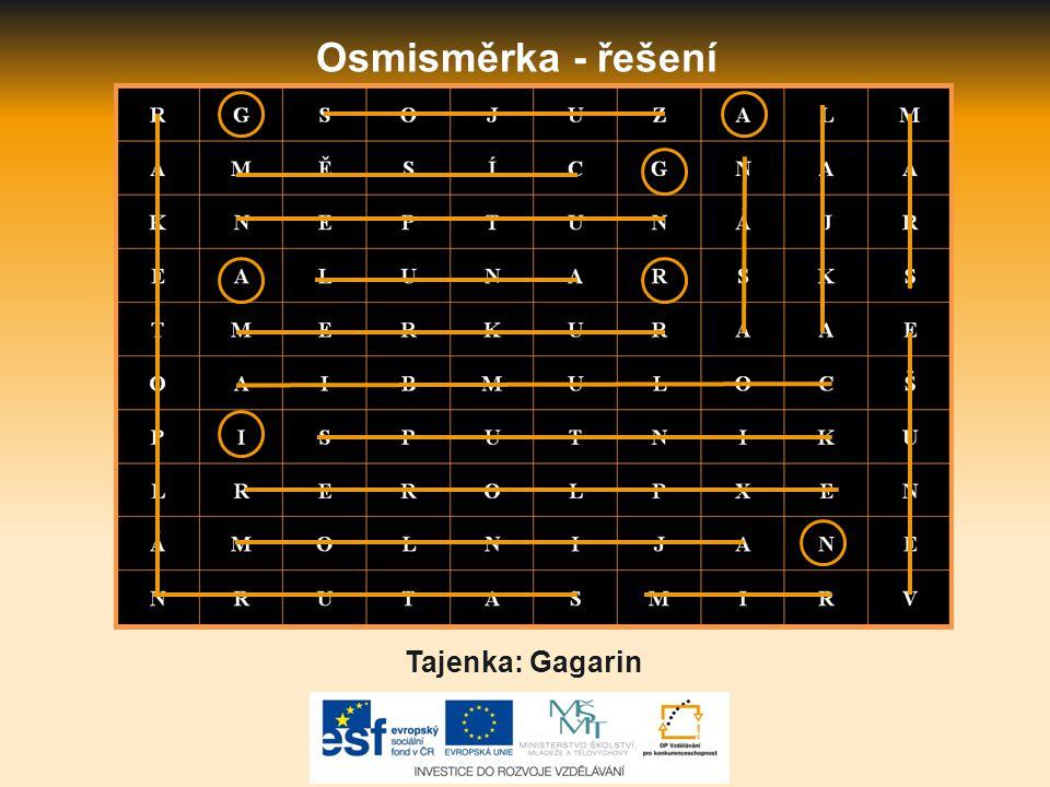Osmisměrka - řešení Tajenka: Gagarin