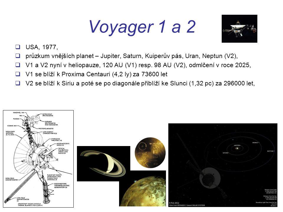 Voyager 1 a 2 USA, 1977, průzkum vnějších planet – Jupiter, Saturn, Kuiperův pás, Uran, Neptun (V2),