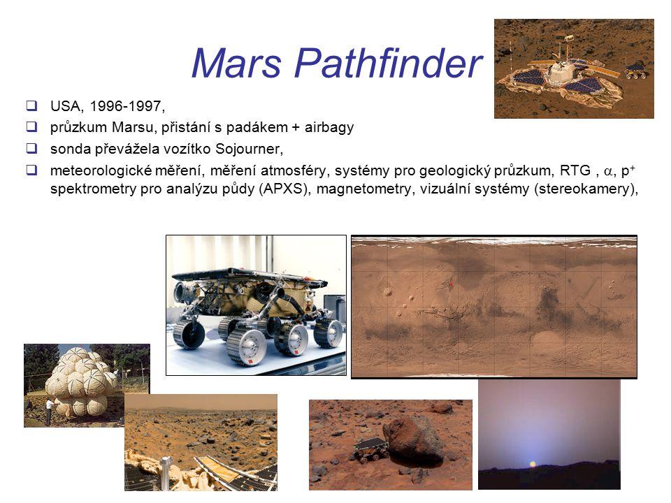Mars Pathfinder USA, 1996-1997, průzkum Marsu, přistání s padákem + airbagy. sonda převážela vozítko Sojourner,