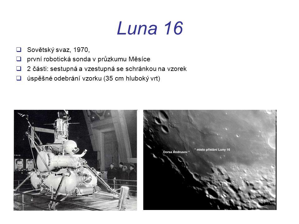 Luna 16 Sovětský svaz, 1970, první robotická sonda v průzkumu Měsíce