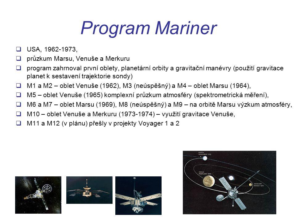 Program Mariner USA, 1962-1973, průzkum Marsu, Venuše a Merkuru
