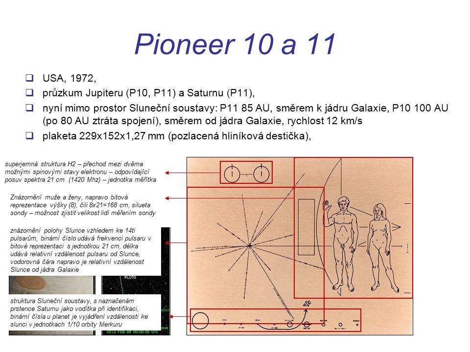 Pioneer 10 a 11 USA, 1972, průzkum Jupiteru (P10, P11) a Saturnu (P11),