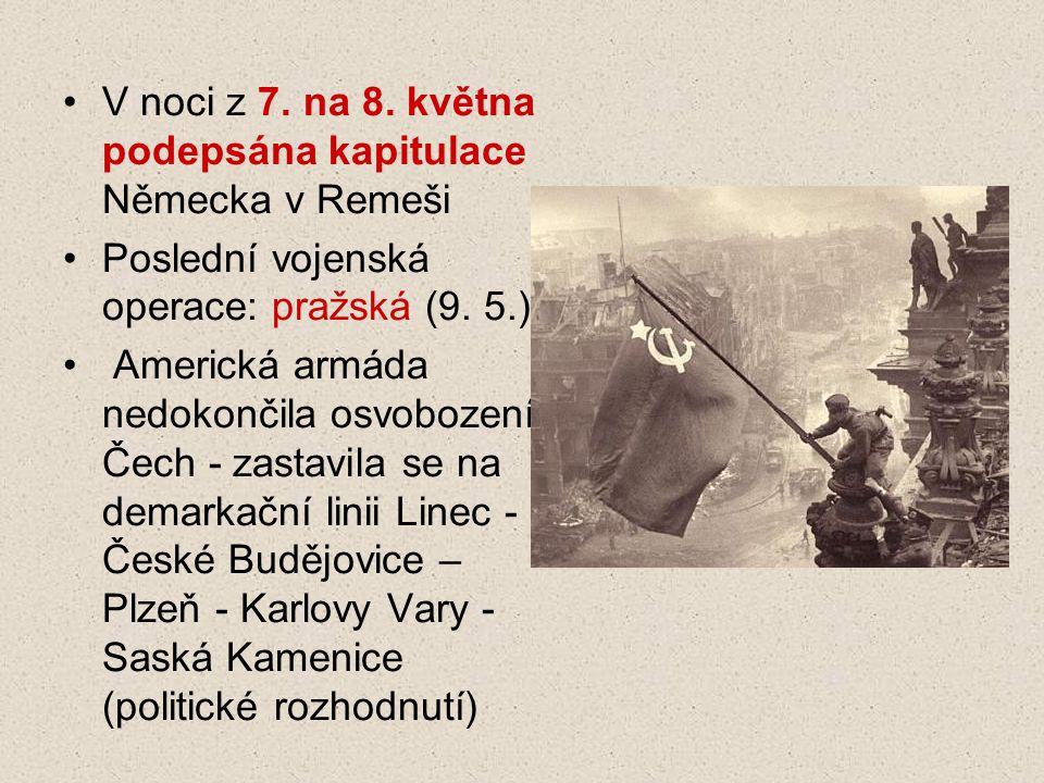 V noci z 7. na 8. května podepsána kapitulace Německa v Remeši