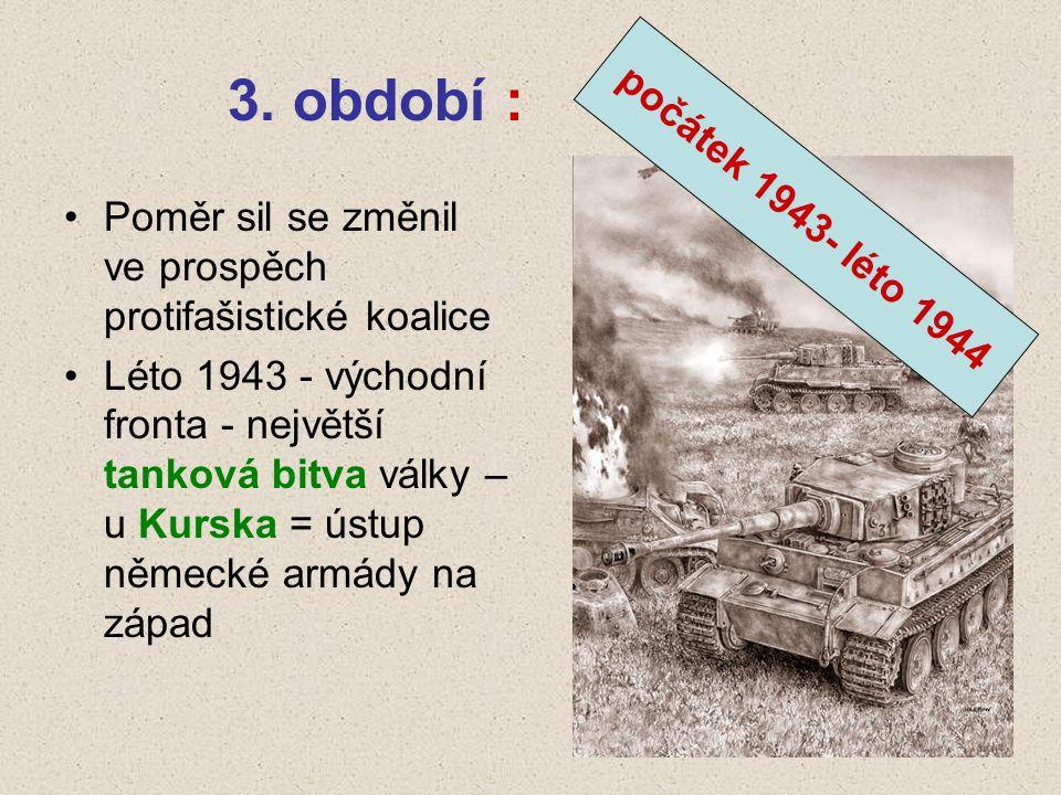 3. období : počátek 1943- léto 1944. Poměr sil se změnil ve prospěch protifašistické koalice.