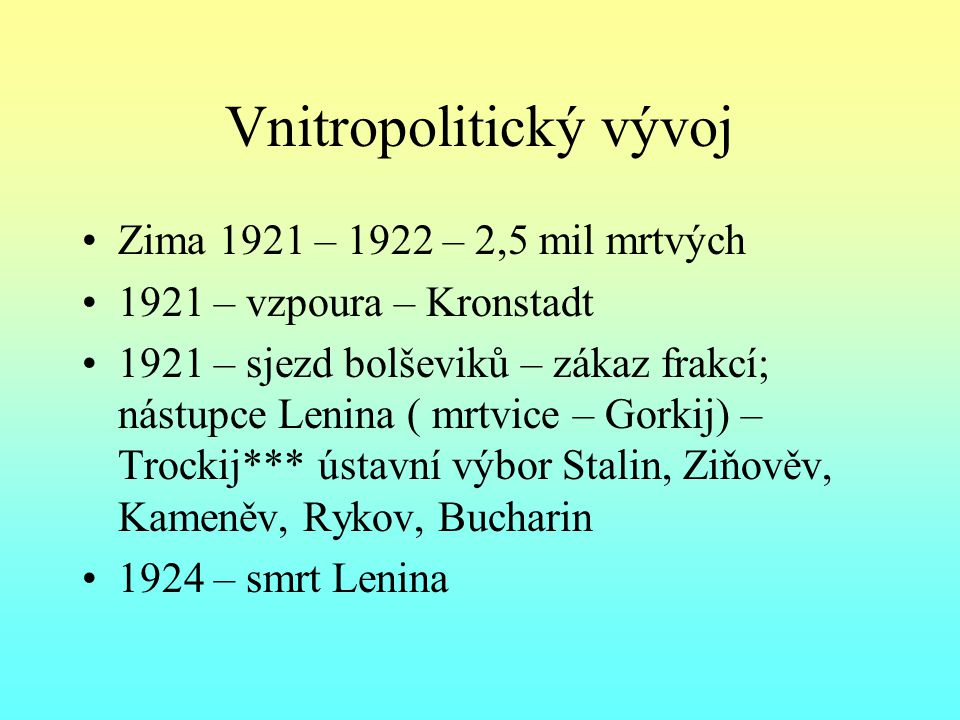 Vnitropolitický vývoj