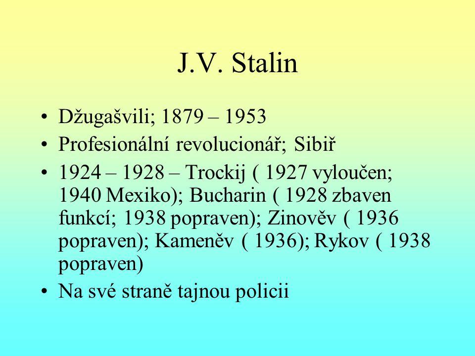 J.V. Stalin Džugašvili; 1879 – 1953 Profesionální revolucionář; Sibiř