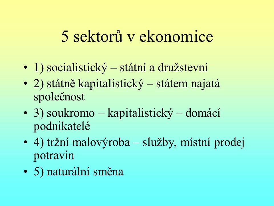 5 sektorů v ekonomice 1) socialistický – státní a družstevní