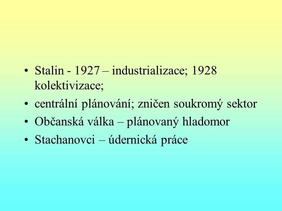 Stalin - 1927 – industrializace; 1928 kolektivizace;
