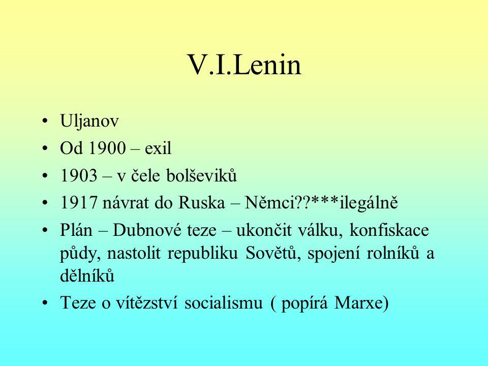 V.I.Lenin Uljanov Od 1900 – exil 1903 – v čele bolševiků