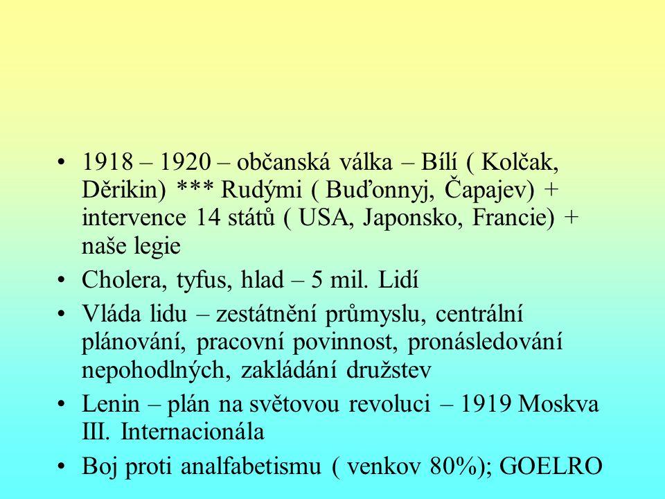 1918 – 1920 – občanská válka – Bílí ( Kolčak, Děrikin)