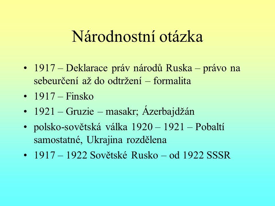 Národnostní otázka 1917 – Deklarace práv národů Ruska – právo na sebeurčení až do odtržení – formalita.