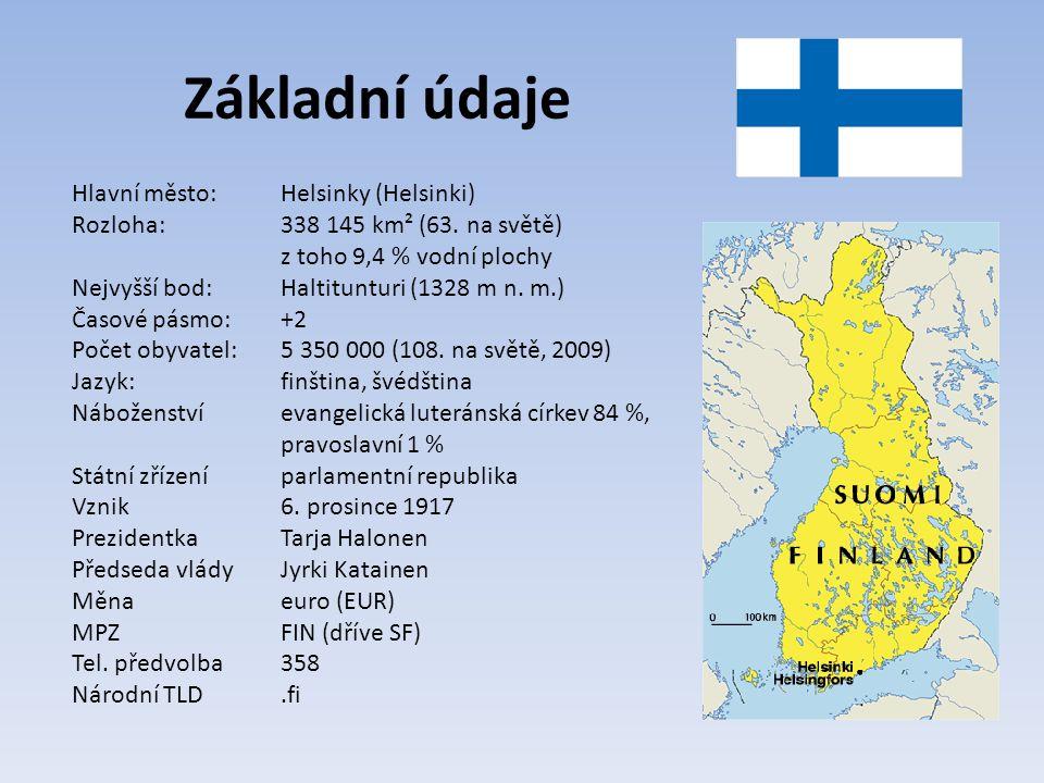 Základní údaje Hlavní město: Helsinky (Helsinki)