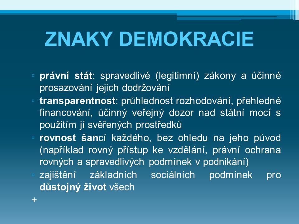 ZNAKY DEMOKRACIE právní stát: spravedlivé (legitimní) zákony a účinné prosazování jejich dodržování.