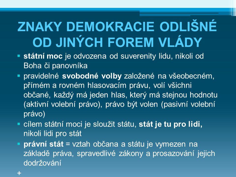 ZNAKY DEMOKRACIE ODLIŠNÉ OD JINÝCH FOREM VLÁDY