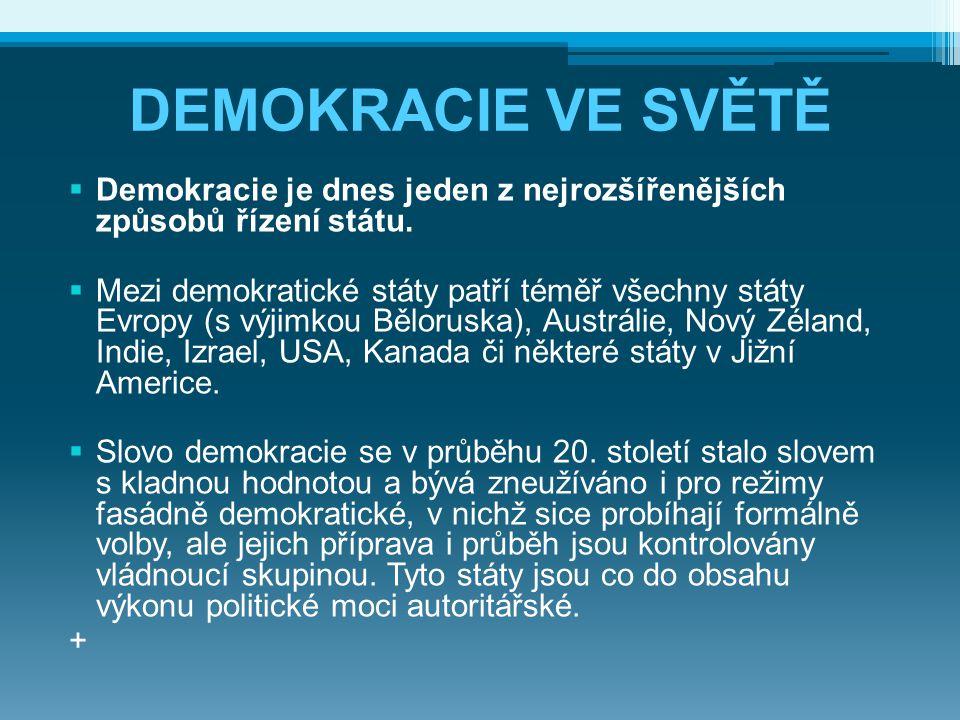 DEMOKRACIE VE SVĚTĚ Demokracie je dnes jeden z nejrozšířenějších způsobů řízení státu.