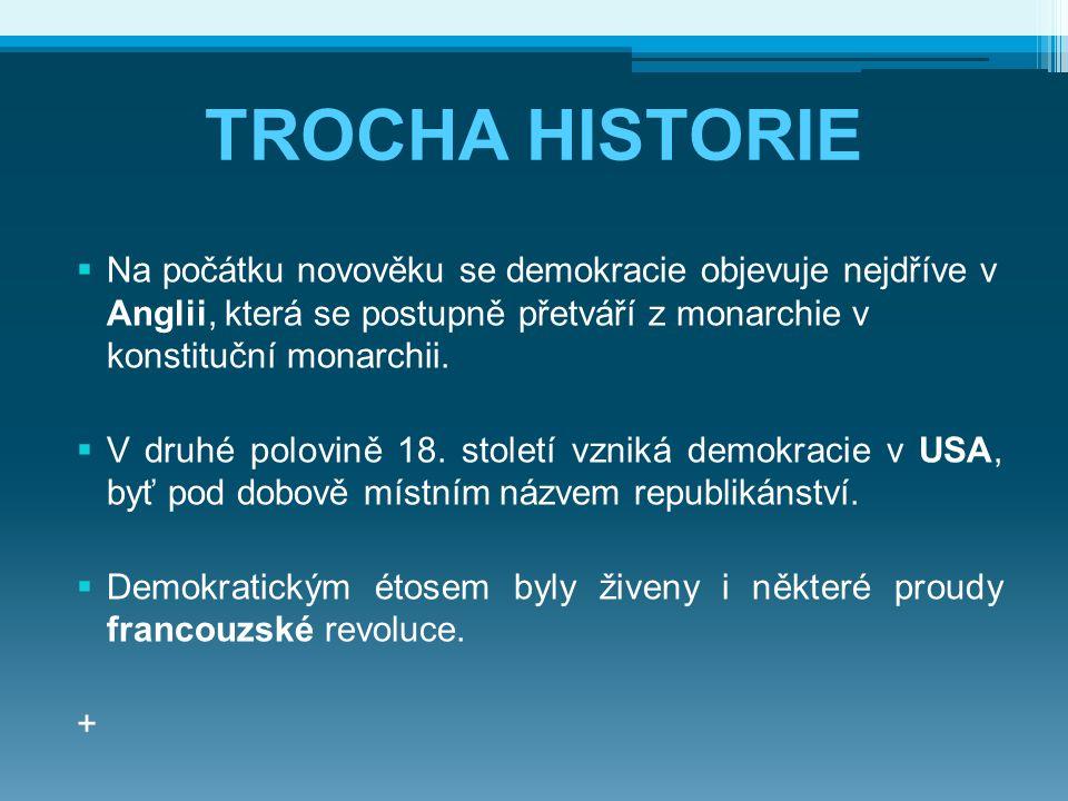 TROCHA HISTORIE Na počátku novověku se demokracie objevuje nejdříve v Anglii, která se postupně přetváří z monarchie v konstituční monarchii.