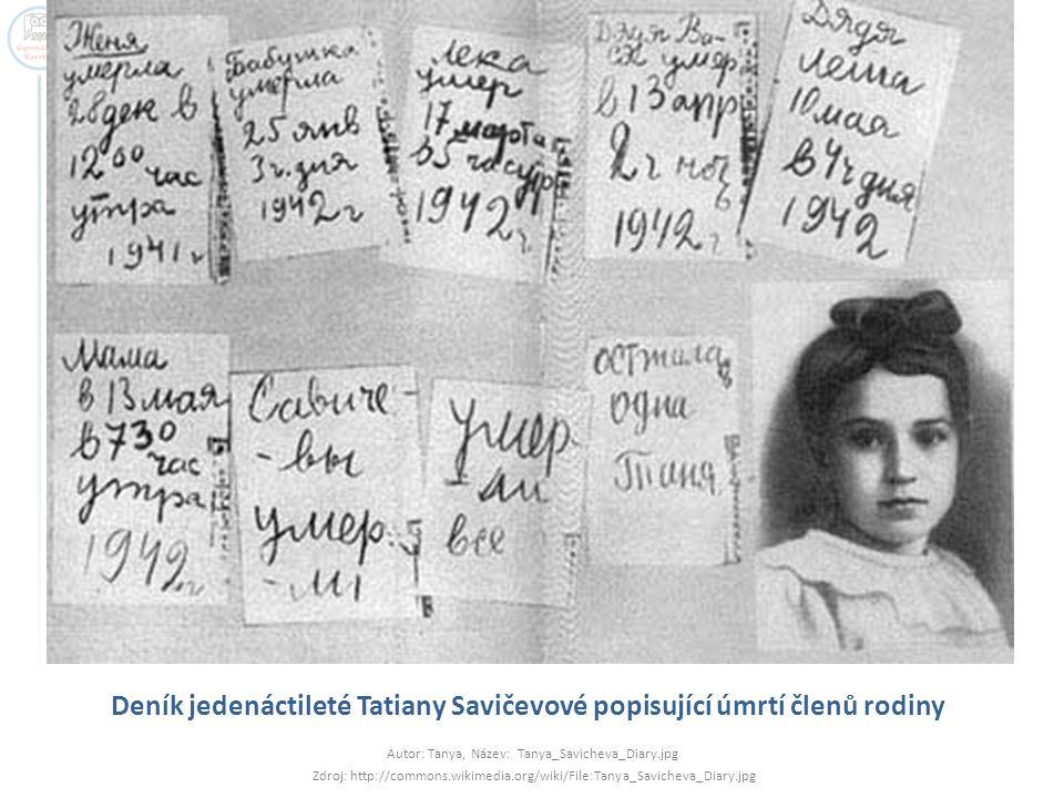 Deník jedenáctileté Tatiany Savičevové popisující úmrtí členů rodiny