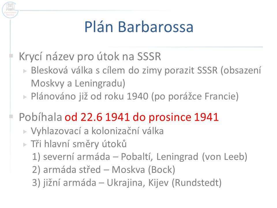Plán Barbarossa Krycí název pro útok na SSSR