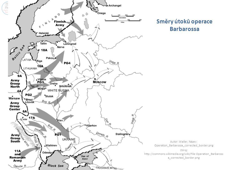 Směry útoků operace Barbarossa