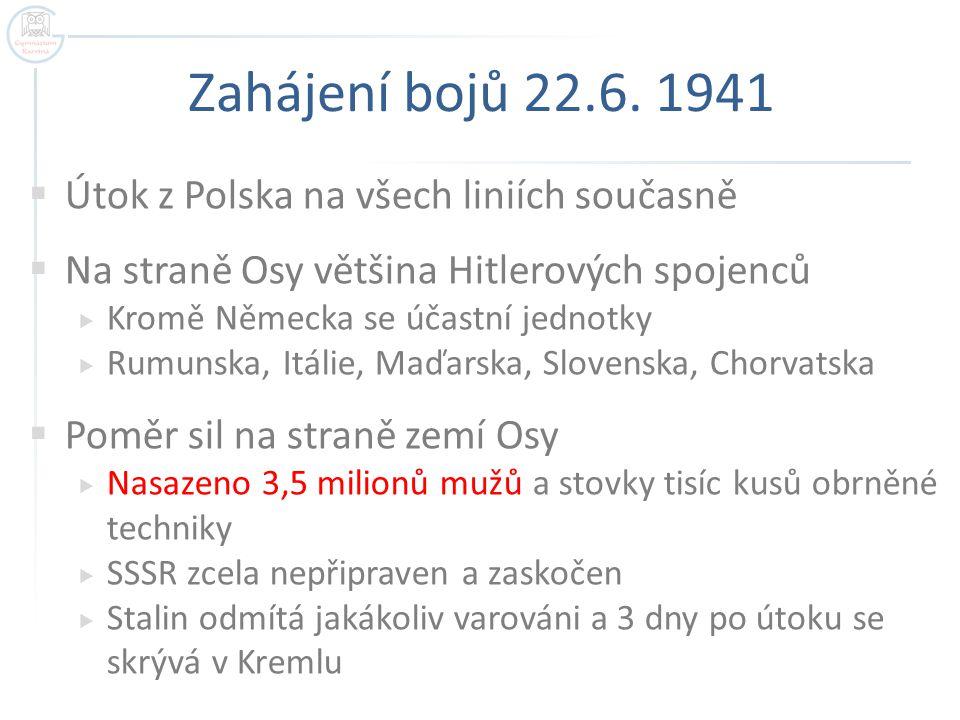 Zahájení bojů 22.6. 1941 Útok z Polska na všech liniích současně