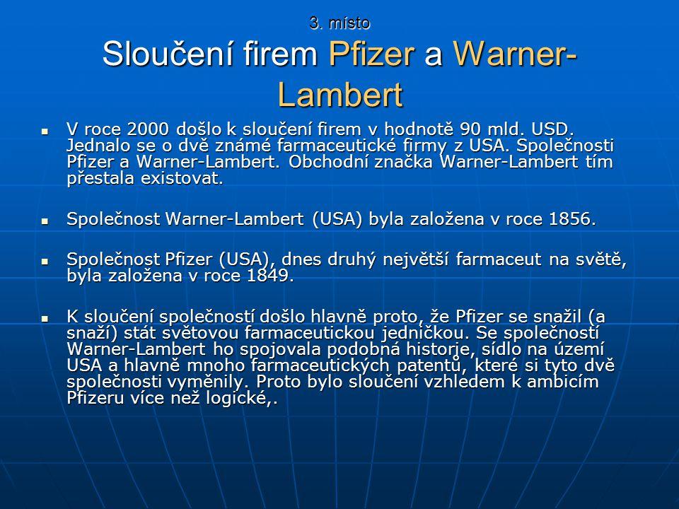 3. místo Sloučení firem Pfizer a Warner-Lambert