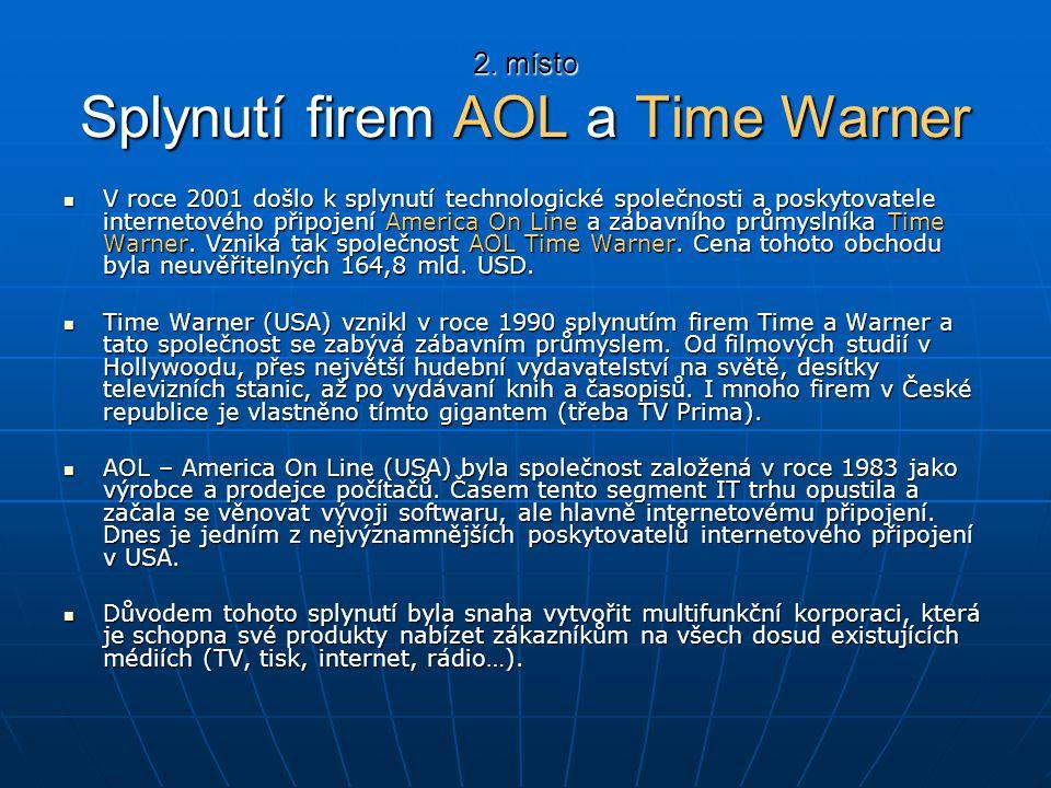 2. místo Splynutí firem AOL a Time Warner