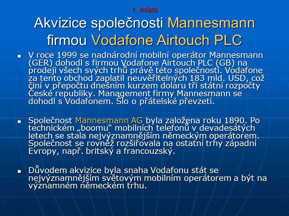 1. místo Akvizice společnosti Mannesmann firmou Vodafone Airtouch PLC