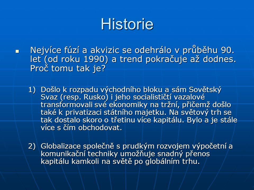 Historie Nejvíce fúzí a akvizic se odehrálo v průběhu 90. let (od roku 1990) a trend pokračuje až dodnes. Proč tomu tak je