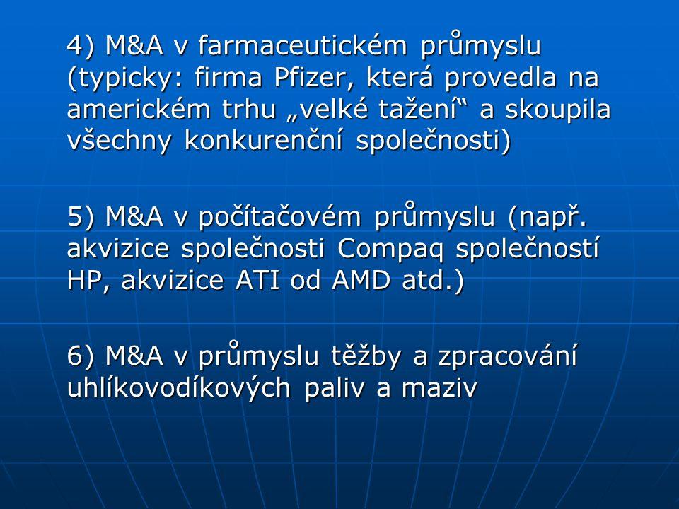 """4) M&A v farmaceutickém průmyslu (typicky: firma Pfizer, která provedla na americkém trhu """"velké tažení a skoupila všechny konkurenční společnosti)"""