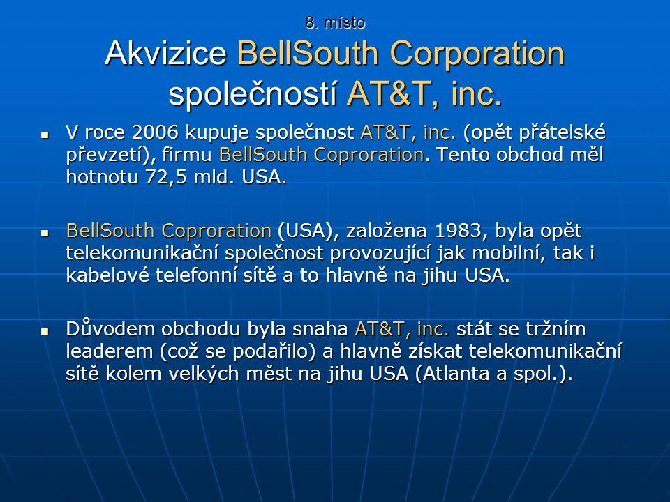 8. místo Akvizice BellSouth Corporation společností AT&T, inc.