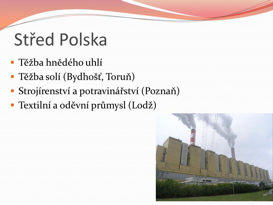 Střed Polska Těžba hnědého uhlí Těžba solí (Bydhošť, Toruň)