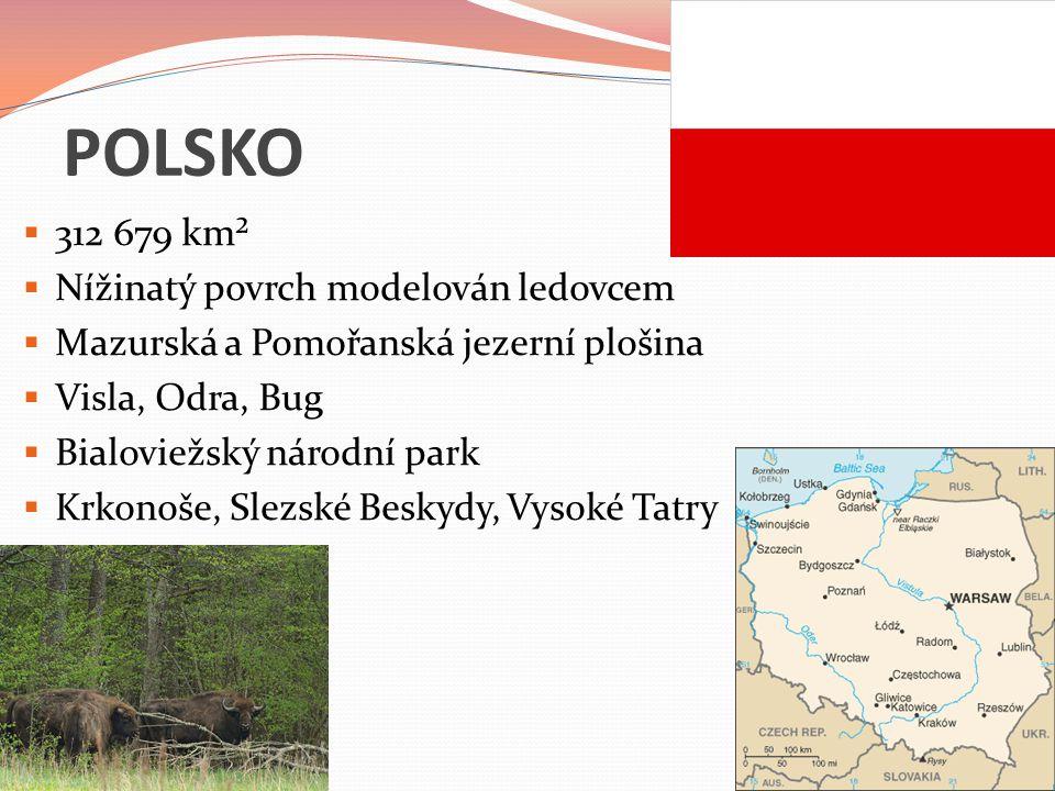 POLSKO 312 679 km² Nížinatý povrch modelován ledovcem