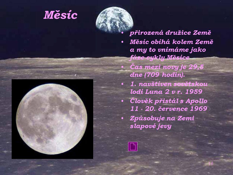 Měsíc přirozená družice Země