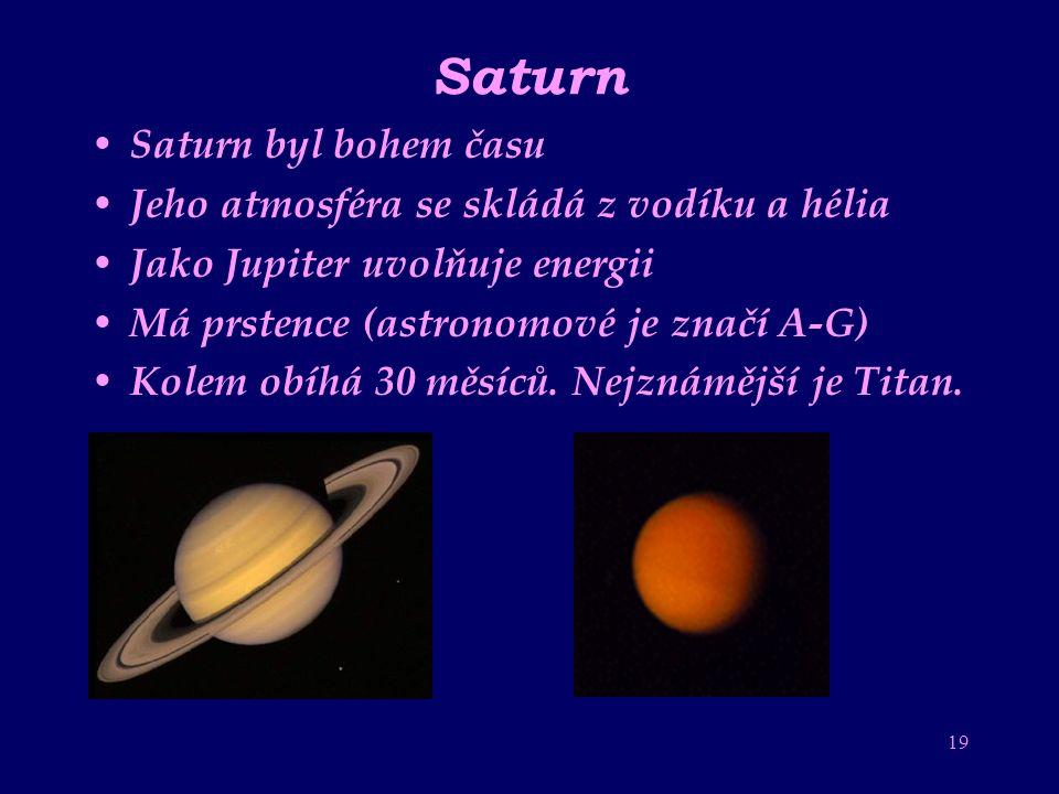 Saturn Saturn byl bohem času Jeho atmosféra se skládá z vodíku a hélia