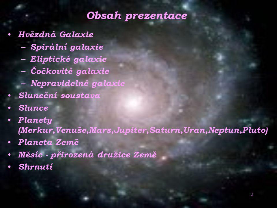 Obsah prezentace Hvězdná Galaxie Spirální galaxie Eliptické galaxie